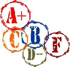collage of grades: A+, B, C, D- and F