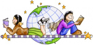 Two cartoon students reading in front of a globe.