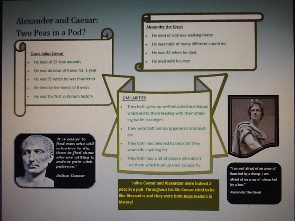 A poster prepared by students comparing and contrasting the lives of Alexander the Great and Julius Caesar