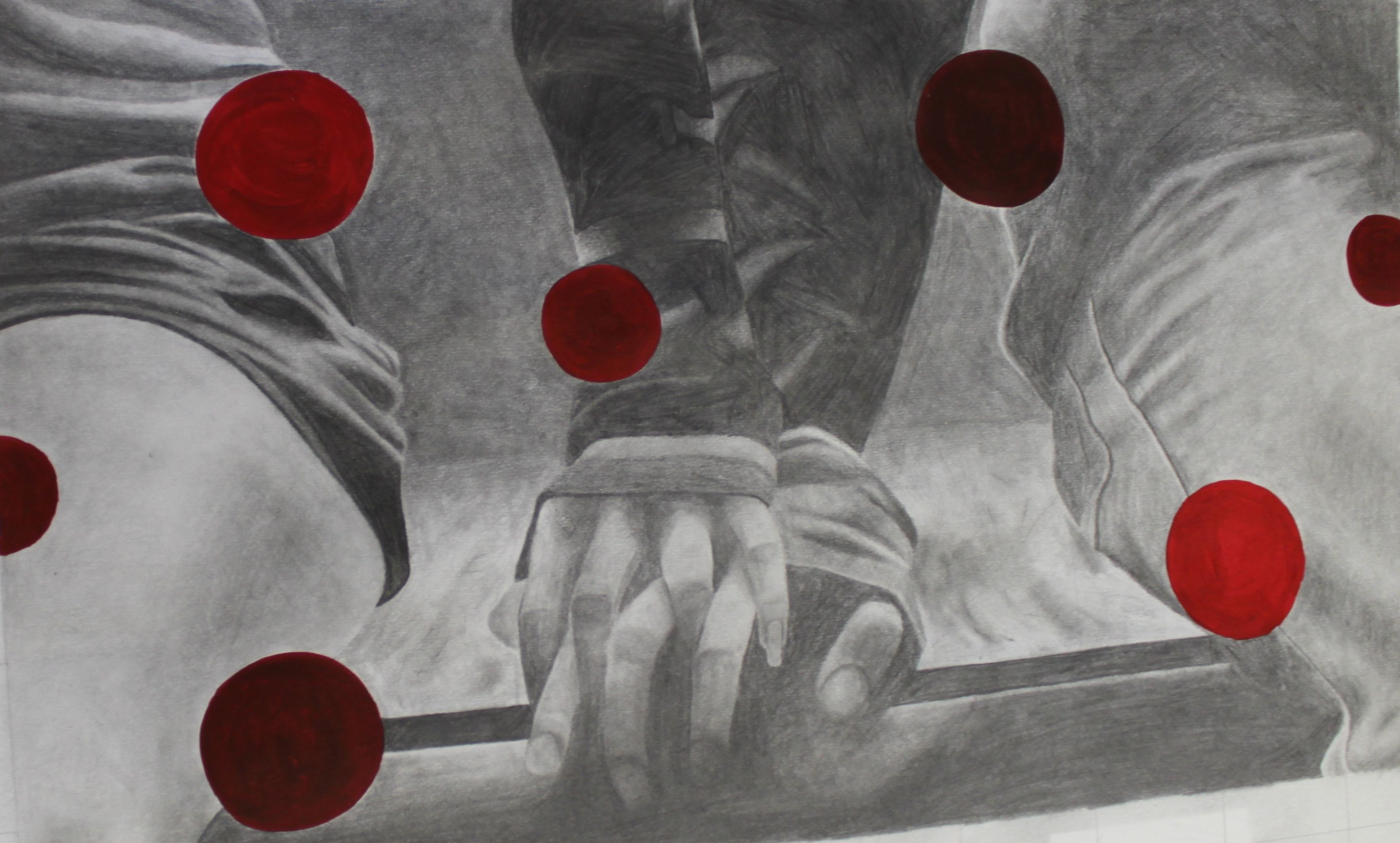Black and white pencil drawing of two people holding hands, covered with metallic red dots