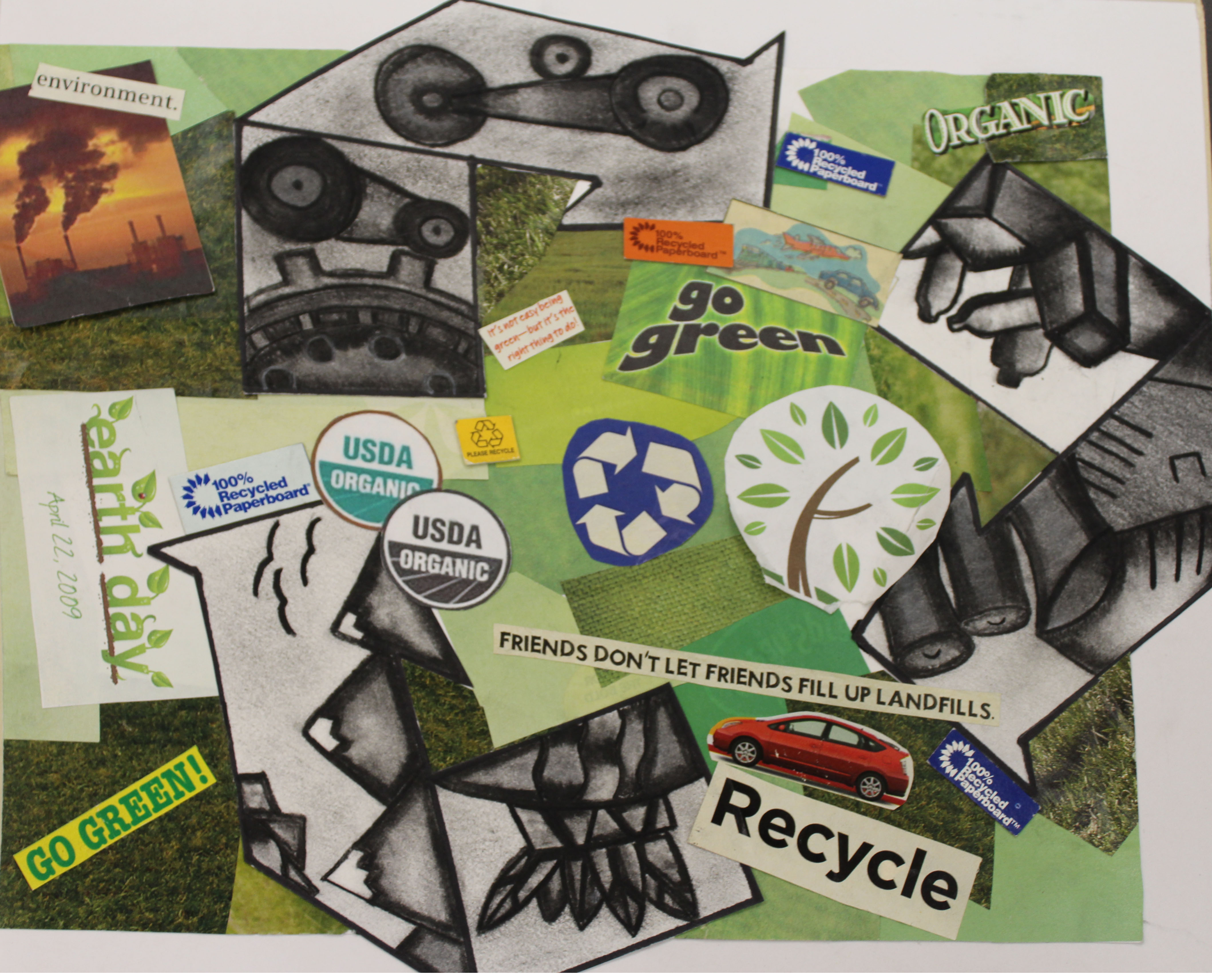 A collage created by Elizabeth D'Amore utilizing green as base color and raising awareness for recycling