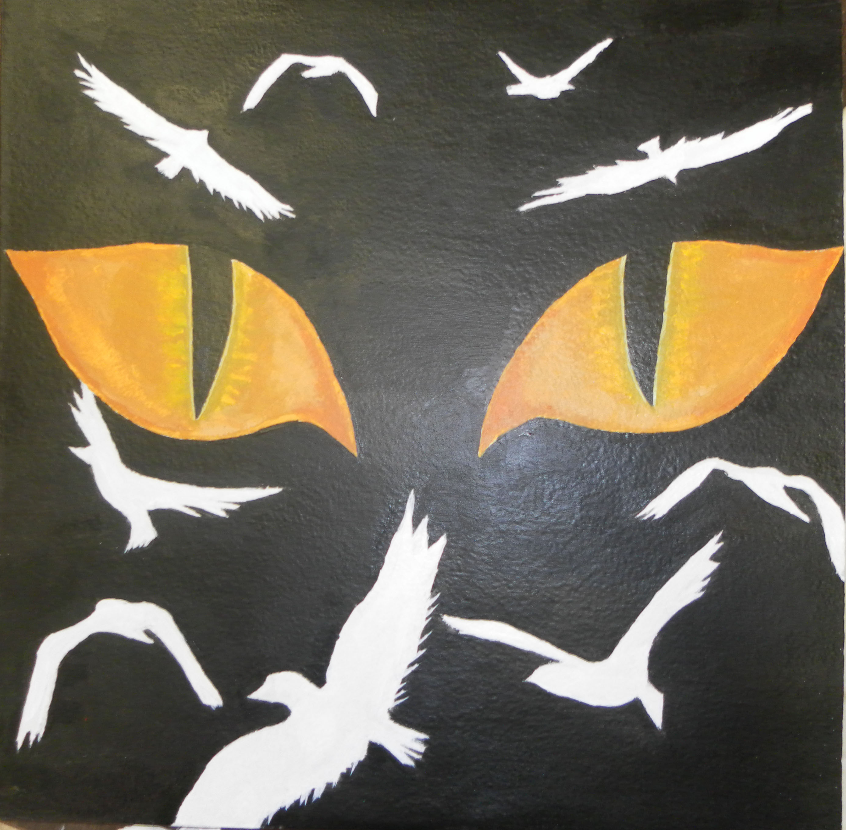 Students up-cycled art showing two bright allow eyes on black background surrounded by white birds