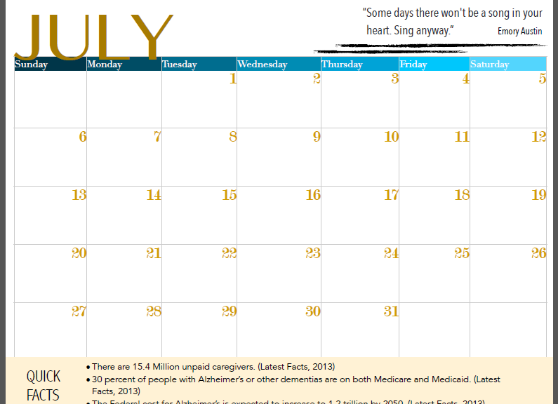 Screenshot of the Month of July of the calendar students created