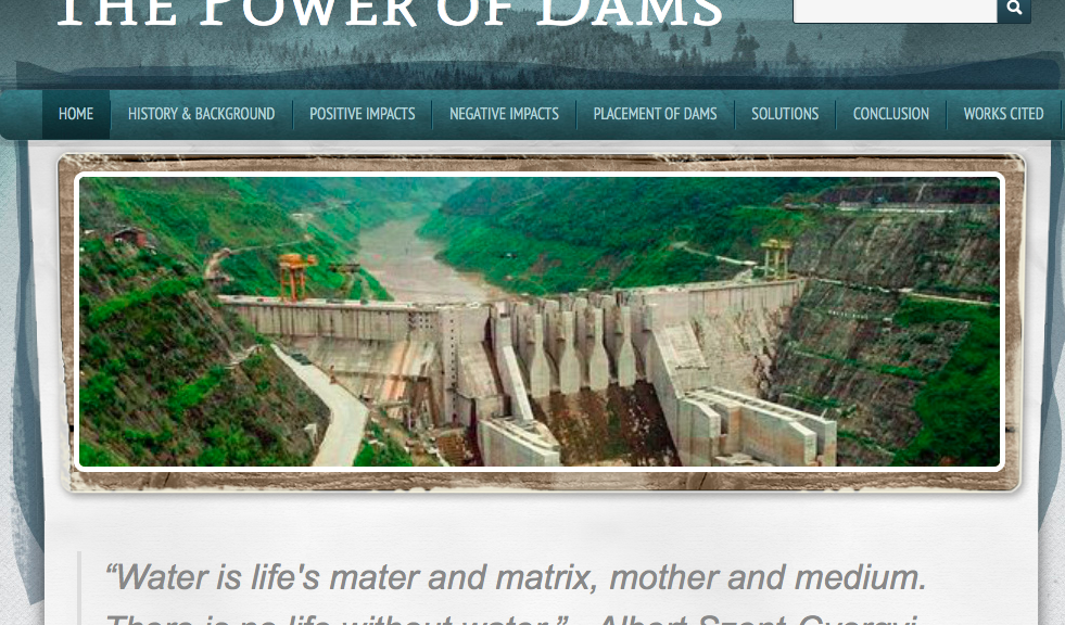 "screenshot of the student website on ""the power of dams"""