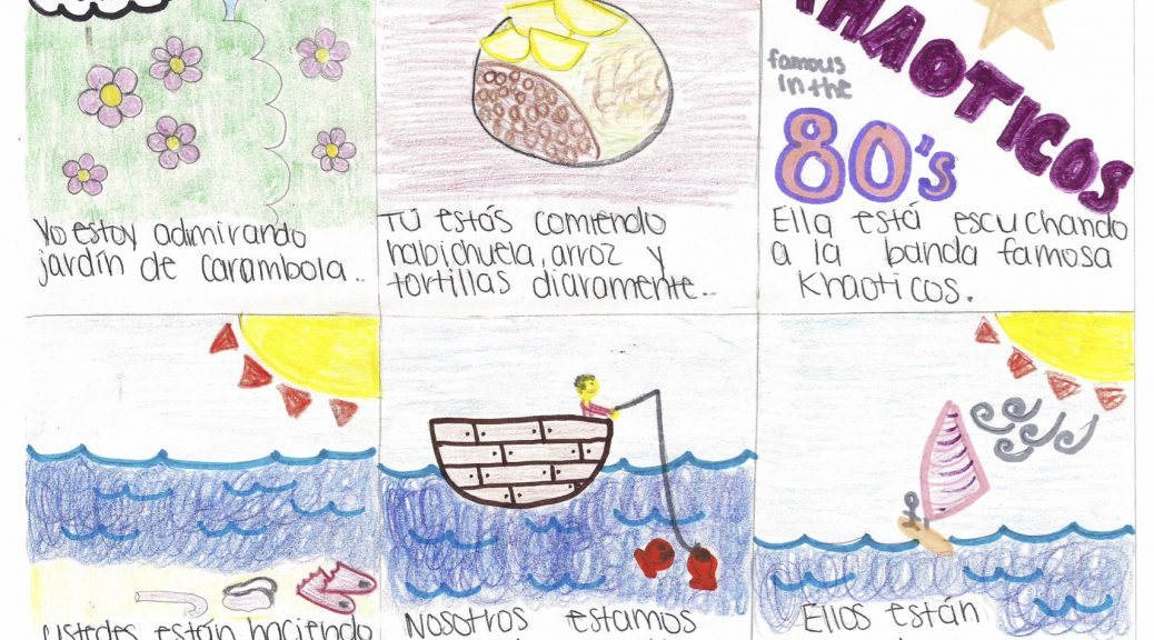 Drawings of activities to be completed in a Spanish speaking country of the students choosing