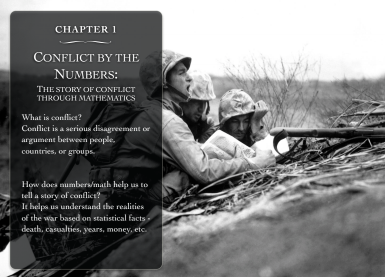 "Screenshot of one of the Students booklet on ""conflict by the numbers"""
