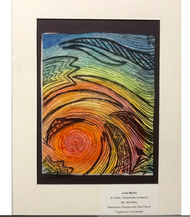 students fingerprint image with black lines and mainly primary colors to fill in the picture