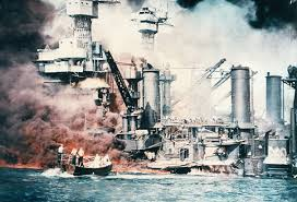a drawing of what seems to be the attack on pearl harbor