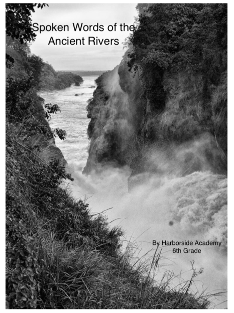 title page of the booklet students created for their poems; shows a black and white photo of a river beyond a deep cliff