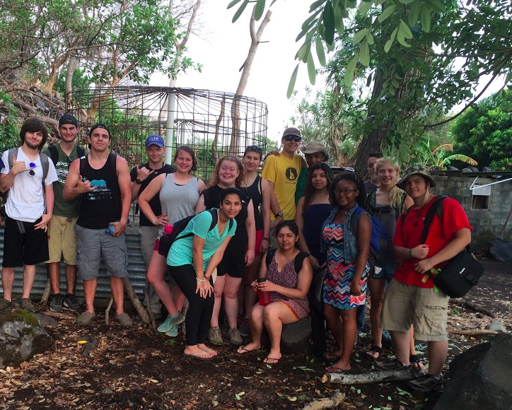 Students of the 2016 Nicaragua Senior Project in the Nicaraguan forest in front of one of the wells they built