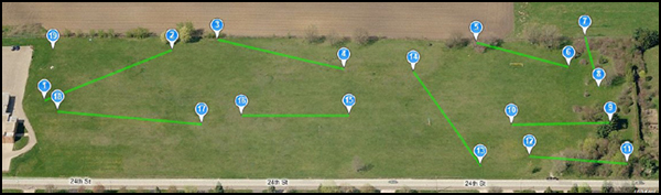 aerial map of Hillcrest disc golf course