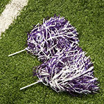 two poms laying on the turf