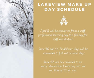 LakeView Make Up Day Schedule 2019