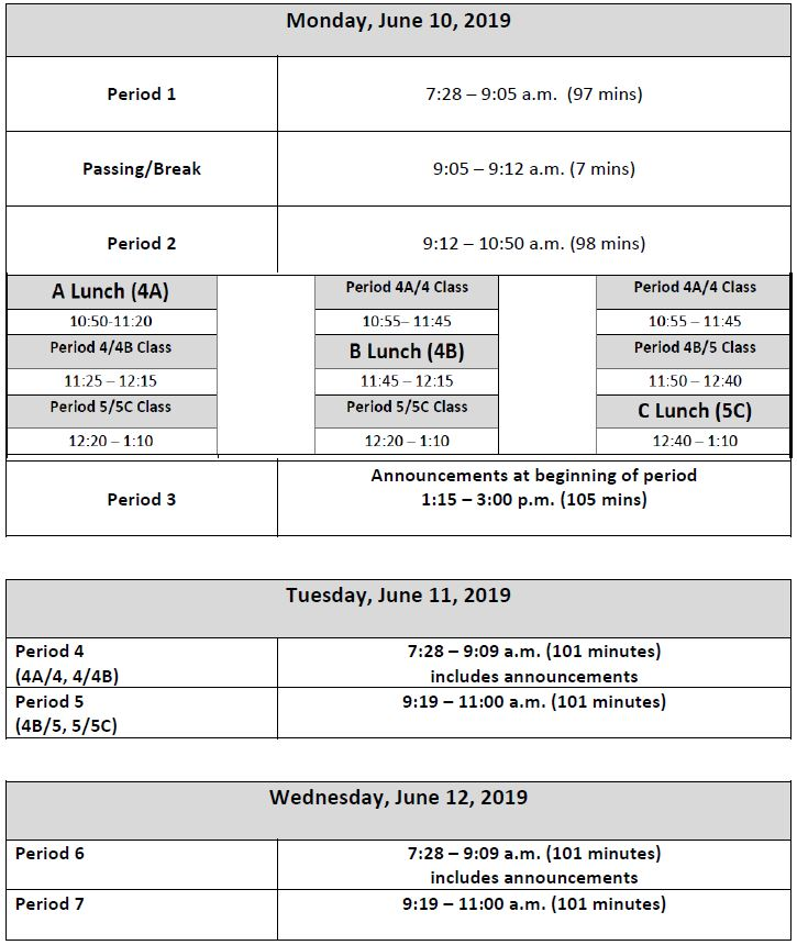 Bradford & Tremper Final Exam Schedule Semester 2 2018-19