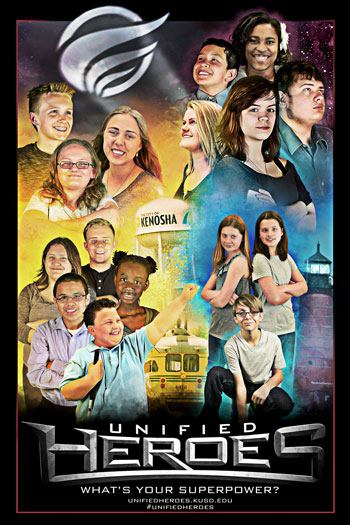Unified Heroes poster showing all 16 students.